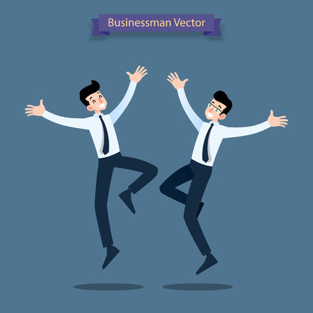 Happy business people celebrating, jumping characters, male persons and team. Illustration