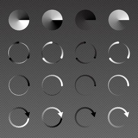 Isolated loading, preloader icon set of black, white and transparency on gradient grid background, vector illustration design. Illustration