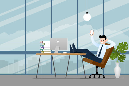 Happy businessman working in the office with his smartphone, cell phone to make his business successful and get more profit. Vector illustration design.