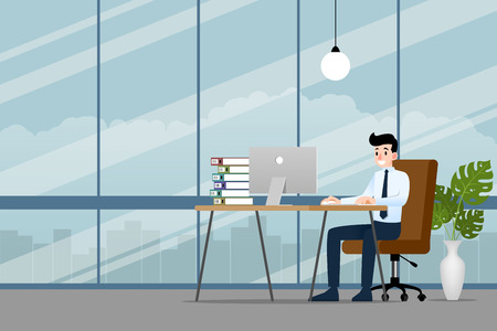 Happy businessman working on a personal computer, sitting on a brown leather chair behind the office desk in the office to make his business successful and get more profit. Vector illustration design. Illustration