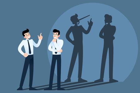 Heureux souriant mensonges, triche, personnage d'homme d'affaires canular bavardant devant le mur avec l'ombre de son long nez. Menteur, personnes couchées dans le concept d'entreprise.