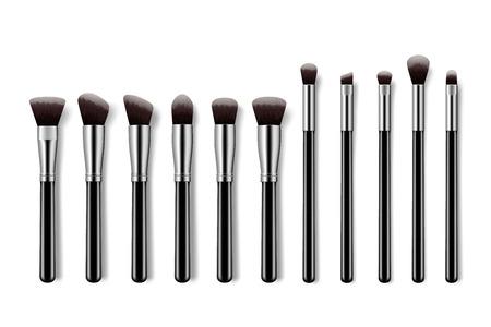 Set of makeup brushes, professional makeup kit concealer powder eyebrush with black handles on colorful pastel background.