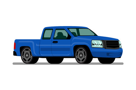 Isolated blue pickup truck, diesel engine vehicle on white background. Vector illustration design.