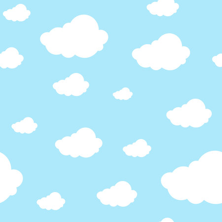 Beaux nuages de modèle sans couture continus sur fond bleu clair. Conception imprimée graphique reproductible pour tout produit, illustration vectorielle. Vecteurs