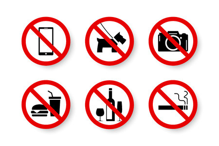 Prohibited set of isolated forbidden, not allowed, no signs. Black symbol of camera, pet, mobile, cell phone, food, hamburger, water, drink, wine, glass, cigarette vector illustration. Stockfoto - 111237034