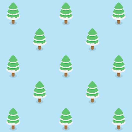 Seamless pattern of Christmas trees with white snow continuous background for  holiday celebration.