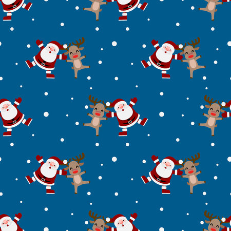 Seamless pattern of Christmas Santa claus and the rudolph reindeer  repeatable, continuous background for holiday celebration.