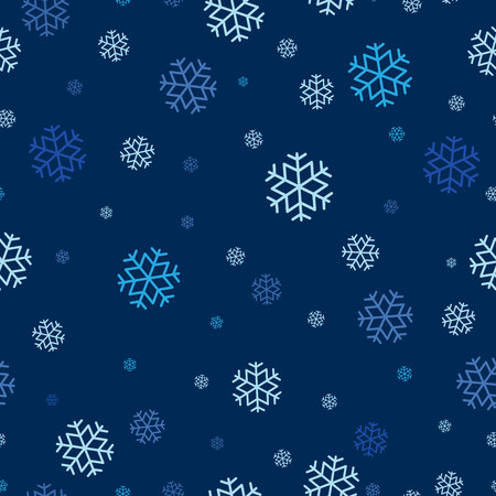 Seamless pattern of snowflake repeatable, continuous background for holiday, Christmas theme celebration.