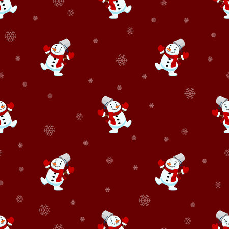 Seamless pattern of Christmas Snowman and snowflake repeatable, continuous background for holiday celebration.