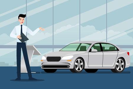 Ein glücklicher Geschäftsmann, Verkäufer steht und präsentiert sein Luxusauto, das im Ausstellungsraum geparkt ist. Vektorillustrationsdesign. Vektorgrafik