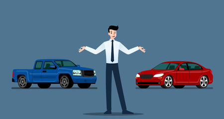 A happy businessman, salesman is standing and present  his luxury car and pickup truck that parked in the show room.Vector illustration design. Ilustrace
