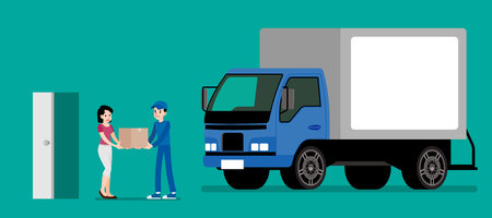 Smiling courier man giving a cardboard box to client. Happy woman receive a product from sender. Goods delivery service vector illustration design. Stock Illustratie