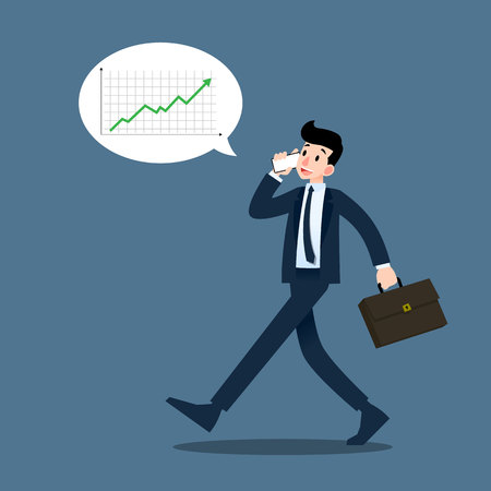 Businessman talking to mobile phone about profit and marketing during walking to work. Illustration