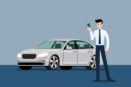 Happy businessman, seller stand and holding credit card in front of luxury car that parking in large showroom in the city.