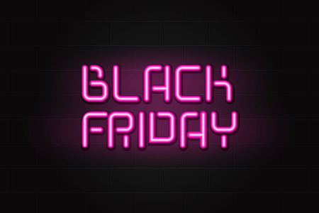 Realistic banner pink glowing neon text sign of Black Friday sale on brick wall in the dark theme concept of sale, clearance and discount period. Illustration