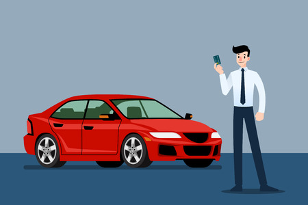 Happy businessman, seller stand and holding credit card in front of luxury car that parking in large showroom.