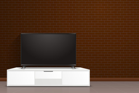 Realistic smart TV screen in modern style lcd, led panel. A huge blank display television mockup in front of brick wall.