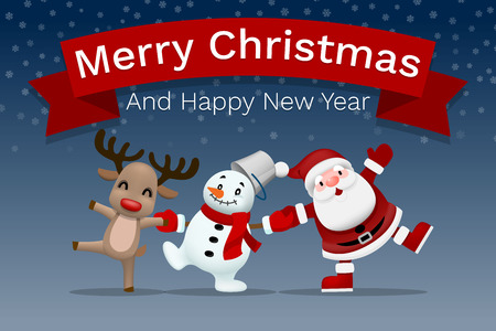 Merry christmas and happy new year companion, Santa claus, snowman and reindeer holding hand each other and celebrate in winter season.