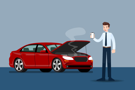 Businessman holding a mobile phone and call for insurance when his car was broken. Illustration