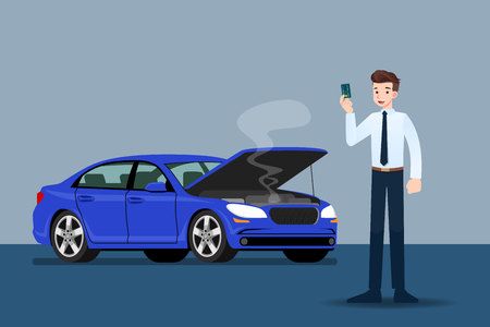 Businessman holding a credit card and waiting for insurance when his car was broken.