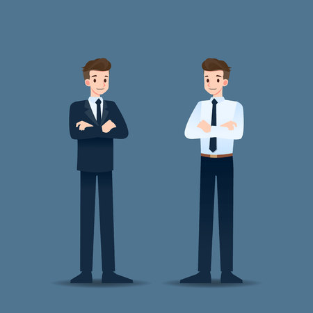 Successful smiling businessman standing and crossed arms. Illustration