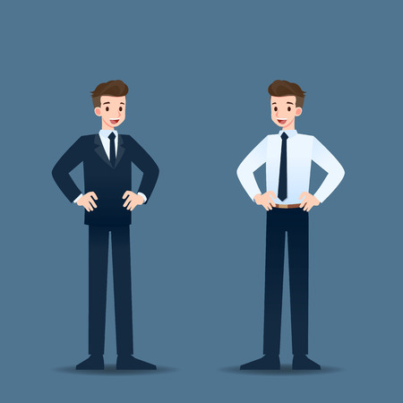 Happy businessman standing with akimbo pose and proud in his career. Illustration
