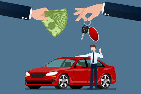 The car dealers hand make an exchange between the car and the customers money. Vector illustration design. Ilustrace
