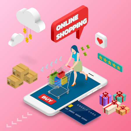 Isometric woman shopping on smart phone. E-commerce online concept female person with shopping cart, technology store.
