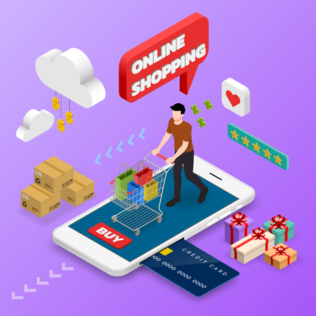 Isometric man shopping on smart phone. E-commerce online concept female person with shopping cart, technology store.