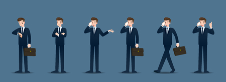 Set of businessman in 6 different gestures. People in business character poses like waiting, communicate and successful. Vector illustration design. Illustration