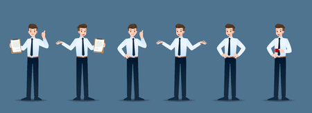 Set of businessman in 6 different gestures. People in business character poses like waiting, communicate and successful. Vector illustration design. Ilustrace