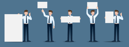 Set of businessman in 5 different gestures. People in business character poses many actions. Vector illustration design.