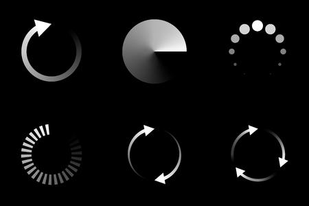 Isolated loading icon set on black background, vector illustration. Illustration