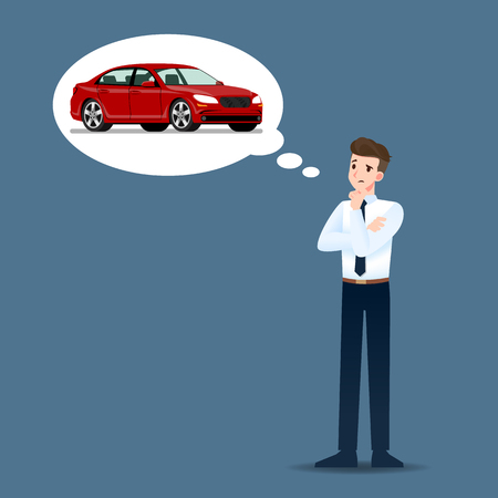 Businessmen think and hope seriously about buying expensive luxury cars. Illustration