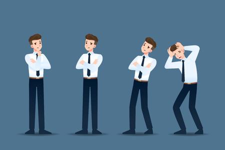 Ensemble d'homme d'affaires dans 4 gestes différents. Les gens de caractère commercial posent comme penser, s'inquiéter. Conception d'illustration vectorielle.