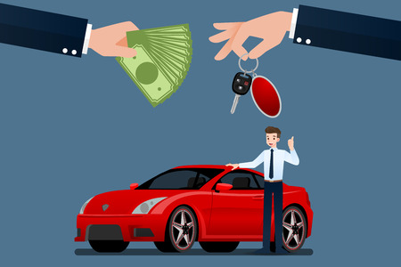 The car dealers make an exchange, sale, rent between a car and the customers credit card. Vector illustration design. Illustration