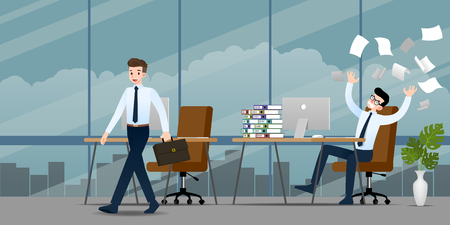 Businessman in different emotion. Two businessmen have contrast situation of work one can finished and going back home but the other one is very confused and busy. Illustration vector design. Ilustrace