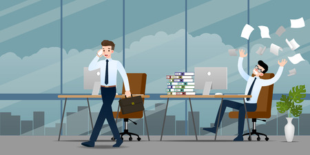 Businessman in different emotion. Two businessmen have contrast situation of work one can finished and going back home but the other one is very confused and busy. Illustration vector design. Illustration