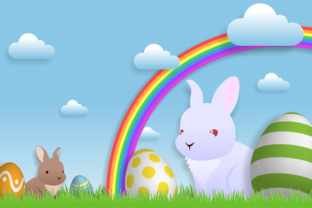 Easter season with rabbit and colorful eggs in meadow field background. Ilustrace
