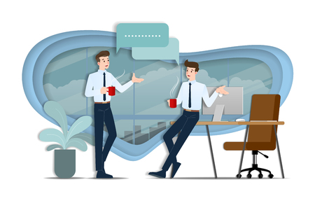 Two businessmen discussing each other. The employee talking with team about business ideas or about commercial organization during coffee time.