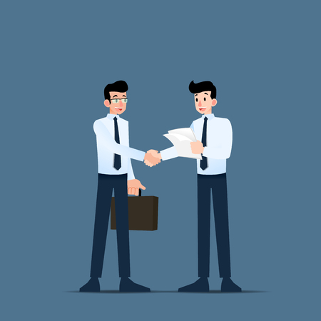 Two Businessmen standing and shake hands each other for cooperation and make a deal.
