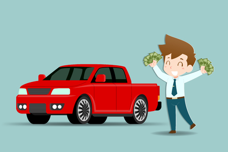 Businessmen stand and holding money with joy of success and were ready to buy a pick-up car to be used as a personal vehicle as a reward for himself.