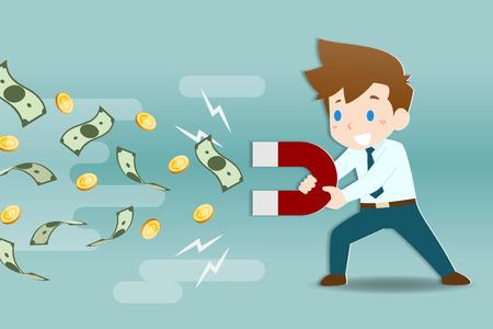 Zakenman met grote magneten om munten en bankbiljetten aan te trekken. Mensen uit het bedrijfsleven maken van investeringen, winst, inkomen.