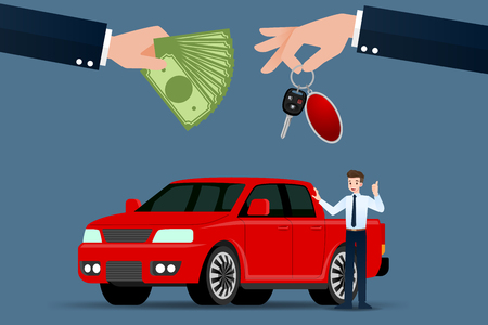The car dealer's hand make an exchange between the pickup car and the customer's money. Vector illustration design.