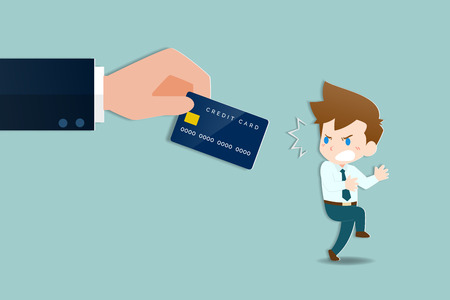 Businessmen were shocked and frightened by the large hands holding a credit card to give him debts. Business people are afraid that they will be liabilities in the interpretation of economic concept. Ilustrace
