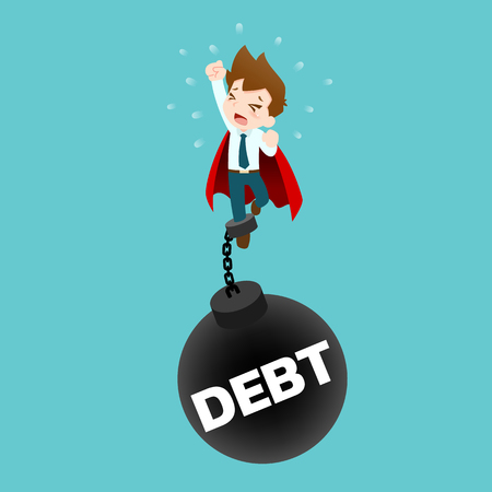 Businessman who wearing a red cape, try to fly up but couldn't because he had been pull down by a huge pendulum steel in meaning of debt. It's look like he has been blocked the progress of his career. Illustration