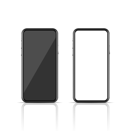 Realistic modern smartphone mockup on white background. New model of communication technology device. Mobile phone with blank screen. Vector illustration design.