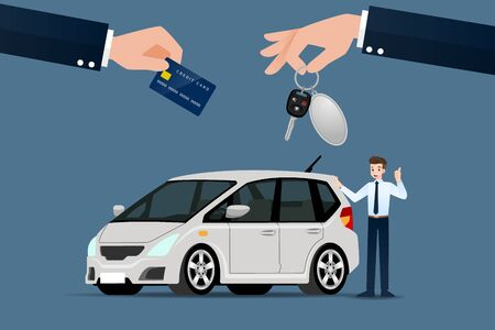 The car dealers make an exchange, sale, rent between a car and the customers credit card. Vector illustration design. Ilustracja