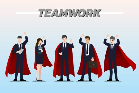 Flat design concept of Businessman and Businesswoman wearing red cape, standing together as teamwork with different poses, working and presenting gestures, actions and poses. Vector cartoon character design set.