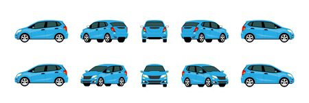 Blue modern eco car vector mock-up template for car branding on white background. Elements of corporate identity. View from side, front, back dimention and easy to use on advertising and graphic. Ilustrace